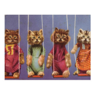 Four Cats on Swings Postcard