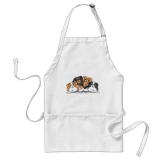 Four Cavalier King Charles Spaniels Adult Apron