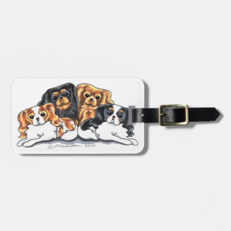 Four Cavalier King Charles Spaniels Bag Tag