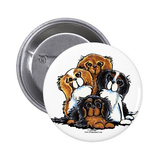 Four Cavalier King Charles Spaniels 2 Inch Round Button