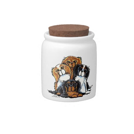 Four Cavalier King Charles Spaniels Candy Jar