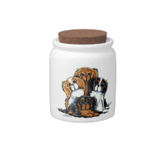Four Cavalier King Charles Spaniels Candy Jars at Zazzle