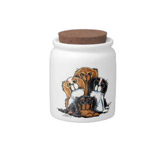 Four Cavalier King Charles Spaniels Candy Jars