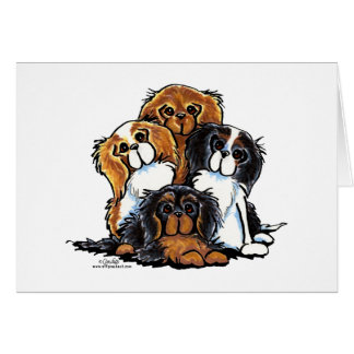 Four Cavalier King Charles Spaniels Card