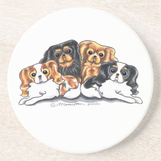 Four Cavalier King Charles Spaniels Drink Coaster