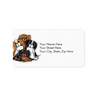 Four Cavalier King Charles Spaniels Labels