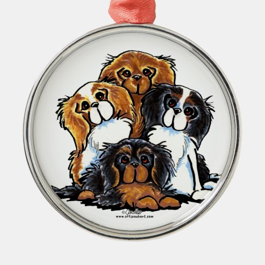 Four Cavalier King Charles Spaniels Metal Ornament