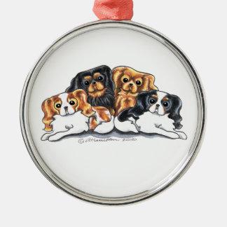 Four Cavalier King Charles Spaniels Metal Ornament