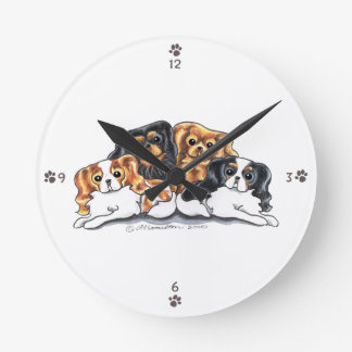 Four Cavalier King Charles Spaniels Round Clock