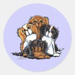 Four Cavalier King Charles Spaniels Round Sticker
