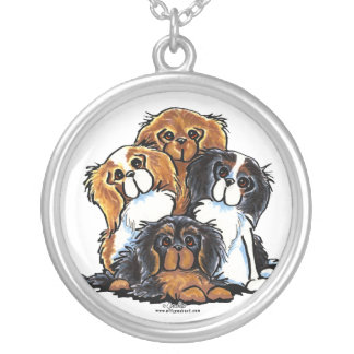Four Cavalier King Charles Spaniels Silver Plated Necklace
