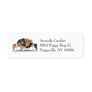 Four Cavalier King Charles Spaniels Simple Label
