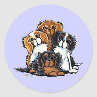 Four Cavalier King Charles Spaniels Classic Round Sticker