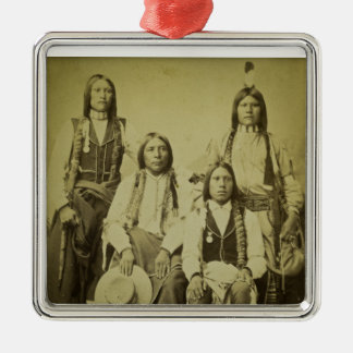 Four Cheyenne Scouts Vintage Stereoview Square Metal Christmas Ornament