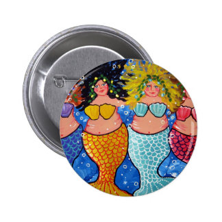 Four Chubby Mermaids 2 Inch Round Button