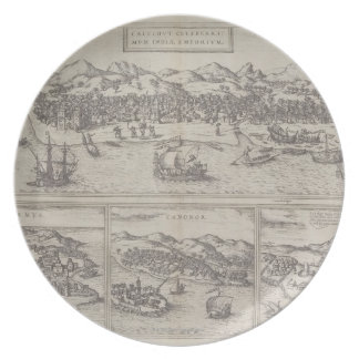 Four Cities in India Melamine Plate