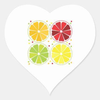Four citrus fruits heart sticker