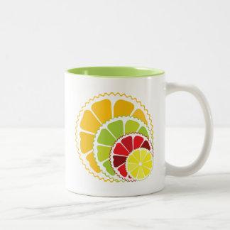 Four citrus fruits coffee mugs