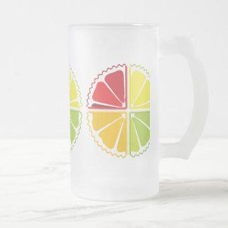 Four citrus fruits glass beer mug