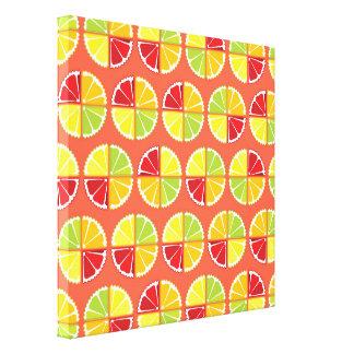 Four citrus fruits pattern canvas print