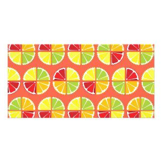 Four citrus fruits pattern card