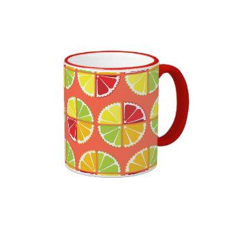Four citrus fruits pattern coffee mugs
