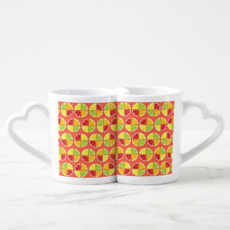 Four citrus fruits pattern lovers mug sets