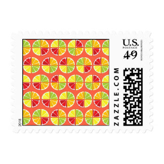 Four citrus fruits pattern postage