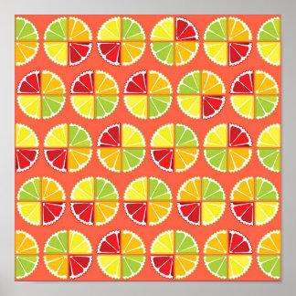 Four citrus fruits pattern poster