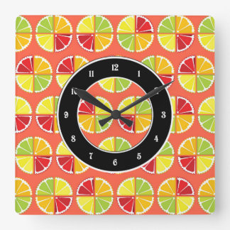 Four citrus fruits pattern square wall clock