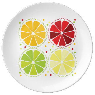 Four citrus fruits porcelain plate