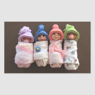 Four Clay Babies, Swaddled, With Hats Rectangular Sticker