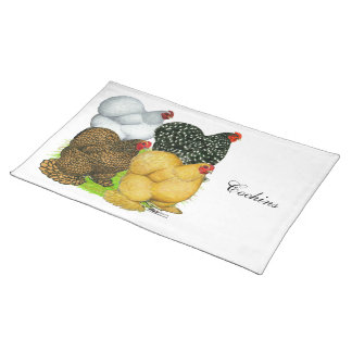 Four Cochin Hens Cloth Placemat