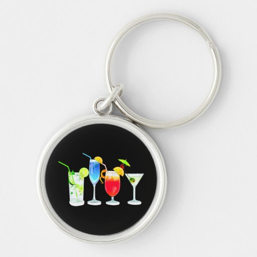 Four Cocktails Silver-Colored Round Keychain