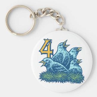 Four Colly Birds Keychain