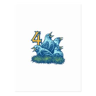Four Colly Birds Postcard