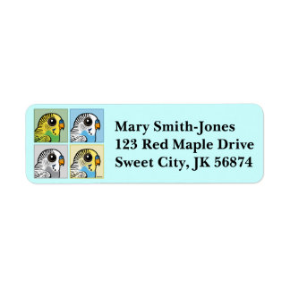 Four Color Budgies Label