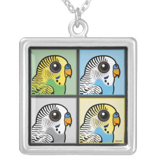 Four Color Budgies Silver Plated Necklace