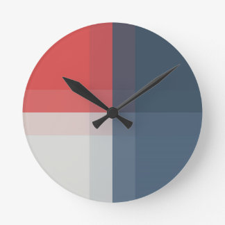 Four Color Combo - Red Gray Blue Dark Blue Round Clock