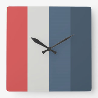 Four Color Combo - Red Gray Blue Dark Blue Square Wall Clock