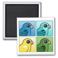 Four Color Barred Parakeets Square Magnet