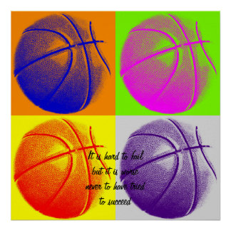 Four Color Motivational Quote Basketball Poster