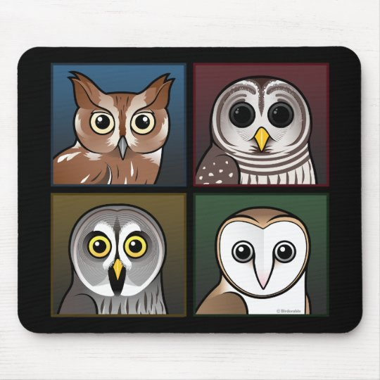 Four Color Owls (dark) Mouse Pad