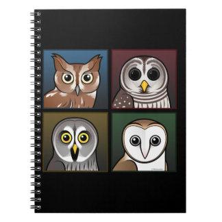 Four Color Owls dark Note Books