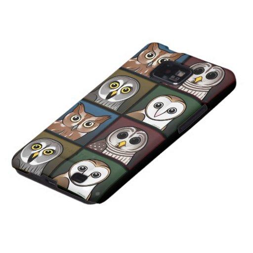 Four Color Owls (dark) Samsung Galaxy SII Case