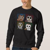 Four Color Owls (dark) Sweatshirt