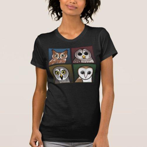 Four Color Owls dark T_Shirt