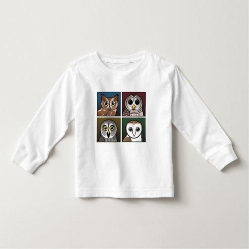 Four Color Owls dark Toddler T_shirt