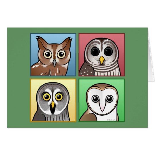 Four Color Owls (pastel) Card