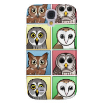 Four Color Owls (pastel) Galaxy S4 Case
